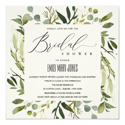 LEAFY GREEN GOLD FOLIAGE WATERCOLOR BRIDAL SHOWER