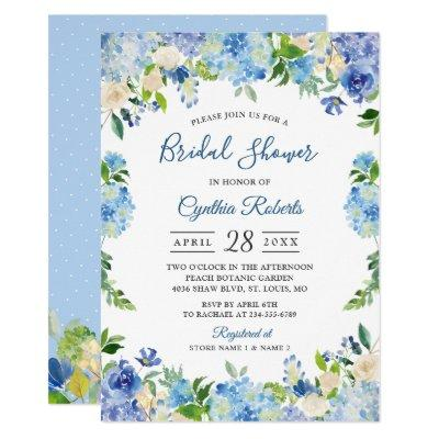 Light Blue Hydrangeas Floral Wreath Bridal Shower