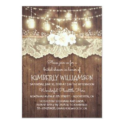 Lights Mason Jars Lace Wood Rustic Bridal Shower