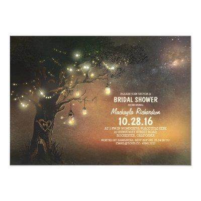 "Lights Tree & Mason Jars Rustic Bridal Shower 5"" X 7"" Invitation"