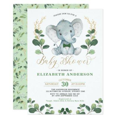 Little Man Elephant Greenery Gold Boy Baby Shower