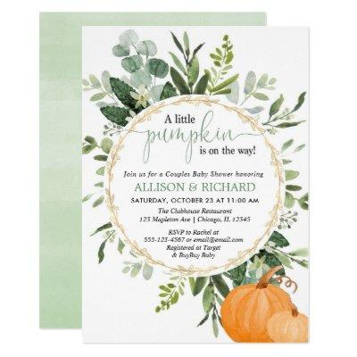 Little pumpkin fall couples greenery baby shower