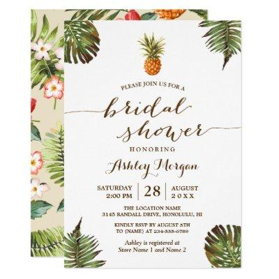 Luau Tropical Leaves Pineapple Bridal Shower