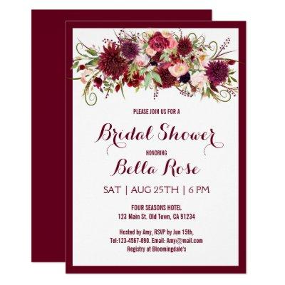 Marsala Red Burgundy Floral Bridal Shower