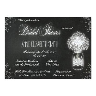 "Mason Jar chalkboard Bridal Shower Invitation II 5"" X 7"" Invitation"