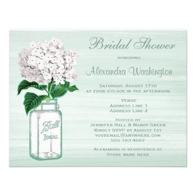 Mason Jar & Hydrangea Rustic Mint Bridal Shower Custom