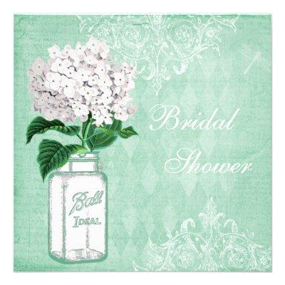 Mint Shabby Chic Jar & Hydrangea Bridal Shower Personalized Announcement
