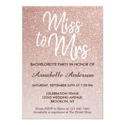 Miss to Mrs Glam Pink Rose Gold Bachelorette Party