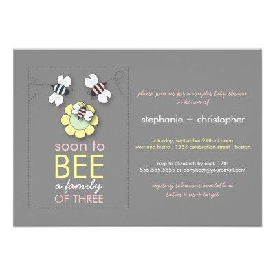 Modern Family to Bee Couples Baby Shower for Girl Personalized Invites