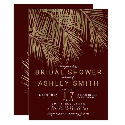 Modern faux gold palm tree burgundy bridal shower