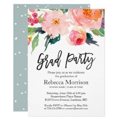 Modern Watercolor Floral Graduation Party