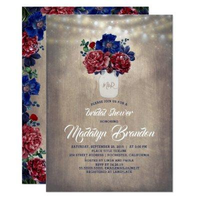 Navy and Red Floral Mason Jar Rustic Bridal Shower