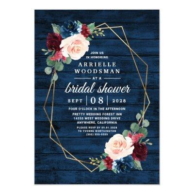 Navy Blue Burgundy Gold Blush Pink Bridal Shower