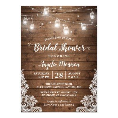 (New Font) Mason Jars Lights Rustic Bridal Shower