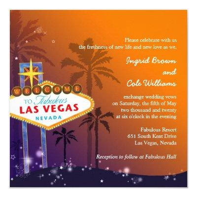 Orange  Purple Twilight Las Vegas Wedding Invites
