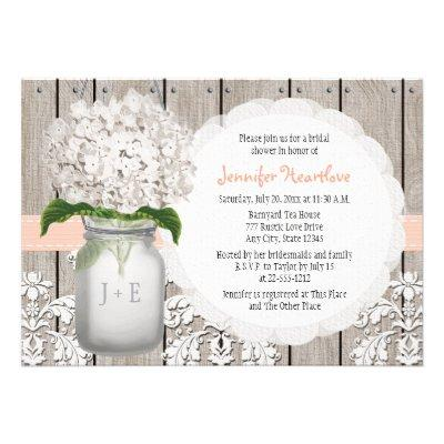 Peach and White Hydrangea Mason Jar Bridal Shower