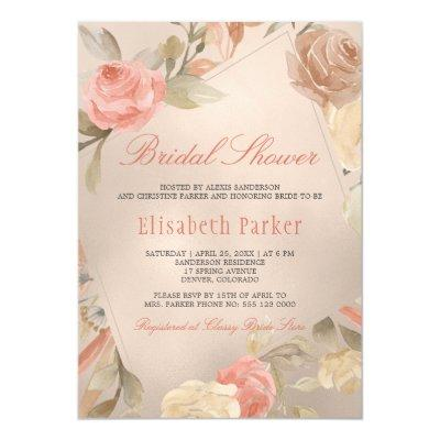 Peach Cream Faux Gold Foil Floral Bridal Shower
