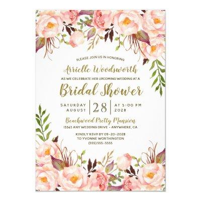 Peony Blush Pink Gold Bridal Shower