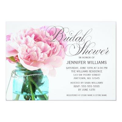 Pink Peonies Mason Jar Bridal Shower