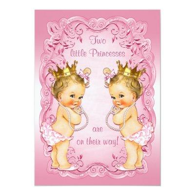 Pink Princess Twins with Pearls Baby Shower