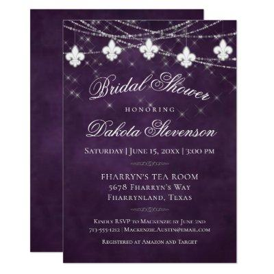 Plum Purple Fleur de Lis Lights | Bridal Shower