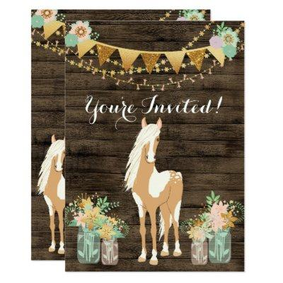 Pretty Horse, Flowers, Rustic Wood Birthday Invite