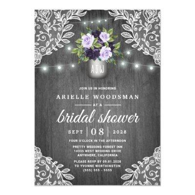 Purple Silver Gray Floral Rustic Bridal Shower