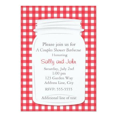 Red Gingham Mason Jar Country Picnic Summer Invite