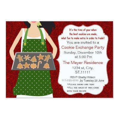 Red & Green Holiday Cookie swap Invite recipe