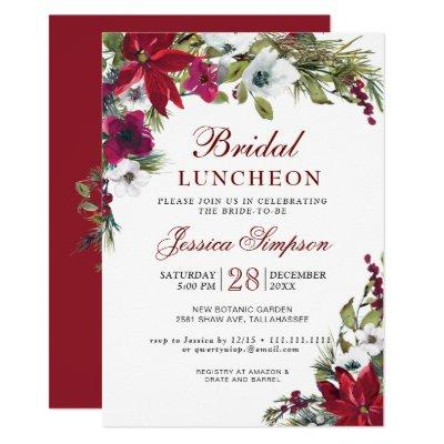 Red Poinsettia Floral Christmas Bridal Luncheon