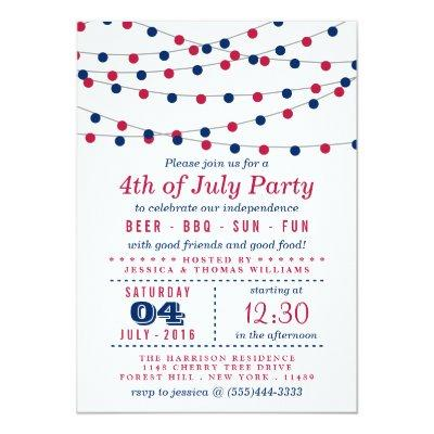 Red, White & Blue String Lights 4th Of July Party