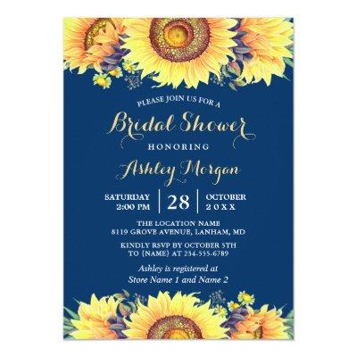 Romantic Sunflowers Rustic Navy Blue Bridal Shower