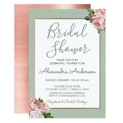 Rose Gold and Sage Floral Bridal Shower