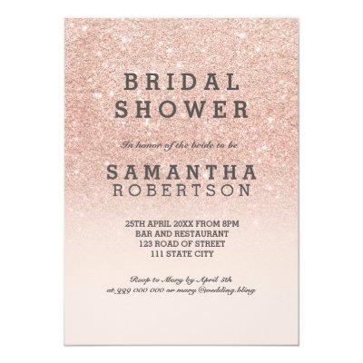 Rose gold faux glitter pink bridal shower Invitations