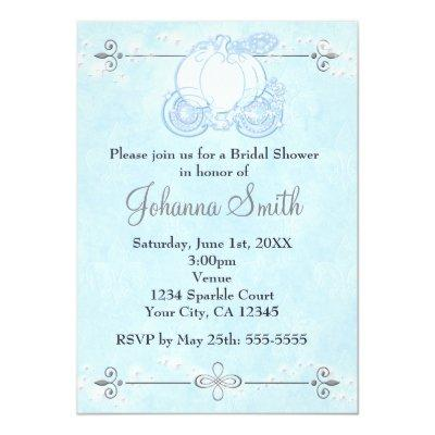 "Royal Blue Cinderella Princess Carriage Invitation 5"" X 7"" Invitation"