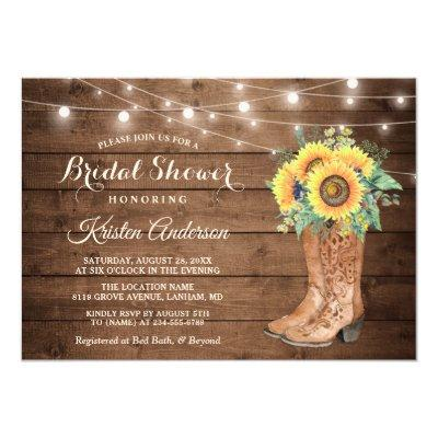 Rustic Boots String Lights Sunflower Bridal Shower