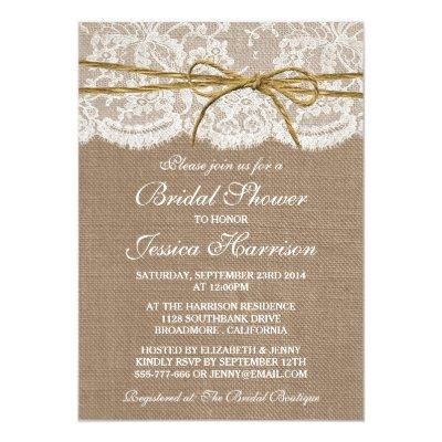 Rustic Burlap, Lace & Twine Bridal Shower Invitations