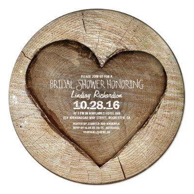 Rustic carved tree wood heart bridal shower personalized