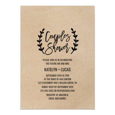 Rustic Chic Faux Kraft Calligraphy Couples Shower