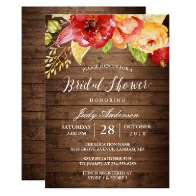 Rustic Country Barn Wood Floral Fall Bridal Shower