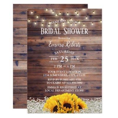 Rustic Country Floral String Lights Bridal Shower