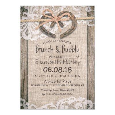 Rustic Country Horseshoe Burlap Lace Bridal Shower