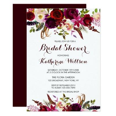 Rustic Floral Burgundy Marsala Fall Bridal Shower