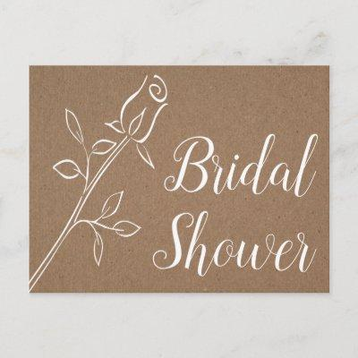 Rustic Kraft Bridal Shower Country Rose Wedding Invitation Post