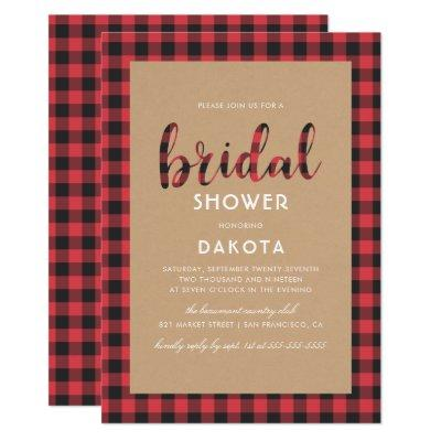 Rustic Kraft & Buffalo Plaid Script Bridal Shower