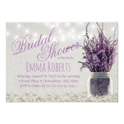 Rustic Lavender Floral Mason Jar Bridal Shower