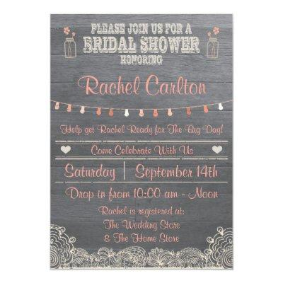 Rustic Mason Jar Bridal Shower  Coral
