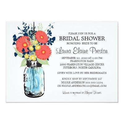 Rustic Mason Jar Gerber Daisies Bridal Shower