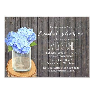 "Rustic Mason Jar Hydrange Barn Wood Bridal Shower 5"" X 7"" Invitation"