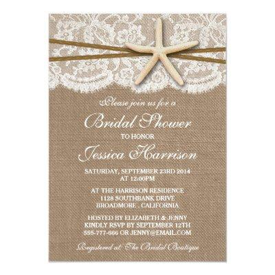 "Rustic Starfish Beach Bridal Shower  5"" X 7"" Invitation"